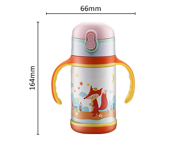 kids insulate vacuum stainless steel drink water bottle with straw