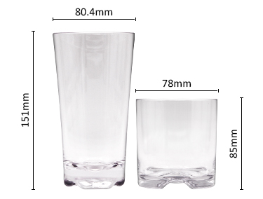 Clear Transparent Plastic Red Wine Glass reusable Stemless Plastic Wine Glasses