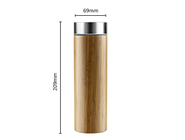 Eco friendly natural bamboo water bottles stainless steel thermos with tea strainer