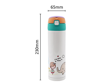 Safe food-grade 500 ml soft straws stainless steel water vacuum bottle for kids