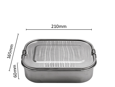 Large Stainless Steel Lunch Box Metal Bento Box Food Container with Lock Clips